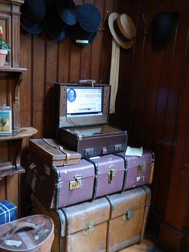 Wightwick Manor - Gentleman's Cloakroom - Old Suitcases