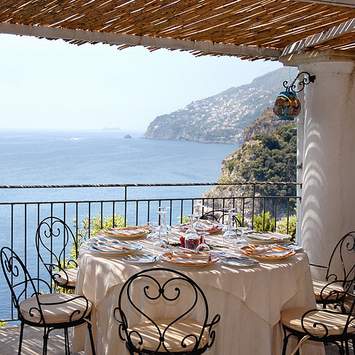 Calajanara Restaurant @ Amalfi Coast Admired By Our Rattan Furniture Designers.